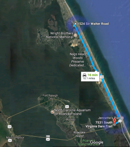 Distance to Outer Banks Kayak Adventures from Dragonfly Dunes Beach House