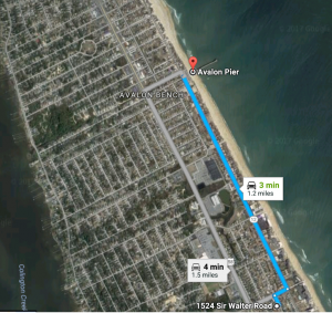 Distance to Avalon Fishing Pier from Dragonfly Dunes Beach House in Kill Devil Hills, NC
