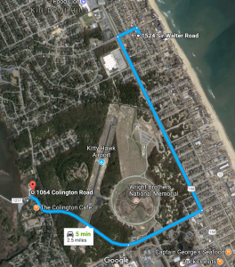 Distance to Colington Speedway Go-Karting from Dragonfly Dunes Beach house in Kill Devil Hills, NC