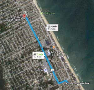 Distance to Glazin Go Nuts Art Gallery and Museum from Dragonfly Dunes, Kill Devil HIlls, NC